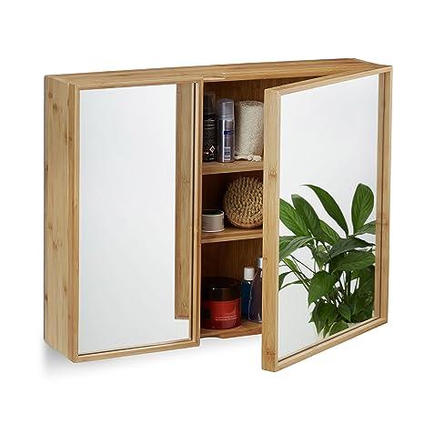Relaxdays Bad Spiegelschrank 2 Turig Wandschrank Aus Bambus Vormontierter Badschrank Hxbxt 50 X 65 X 14 Cm Natur