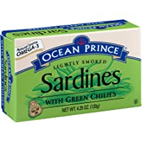Ocean Prince Sardines with Green Chilies, 4.25-Ounce Cans (Pack of 12)