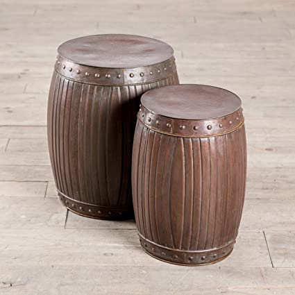 Amazoncom Zallzo Copper Fluted HANDMADE Round Barrel End Table - Copper drum end table