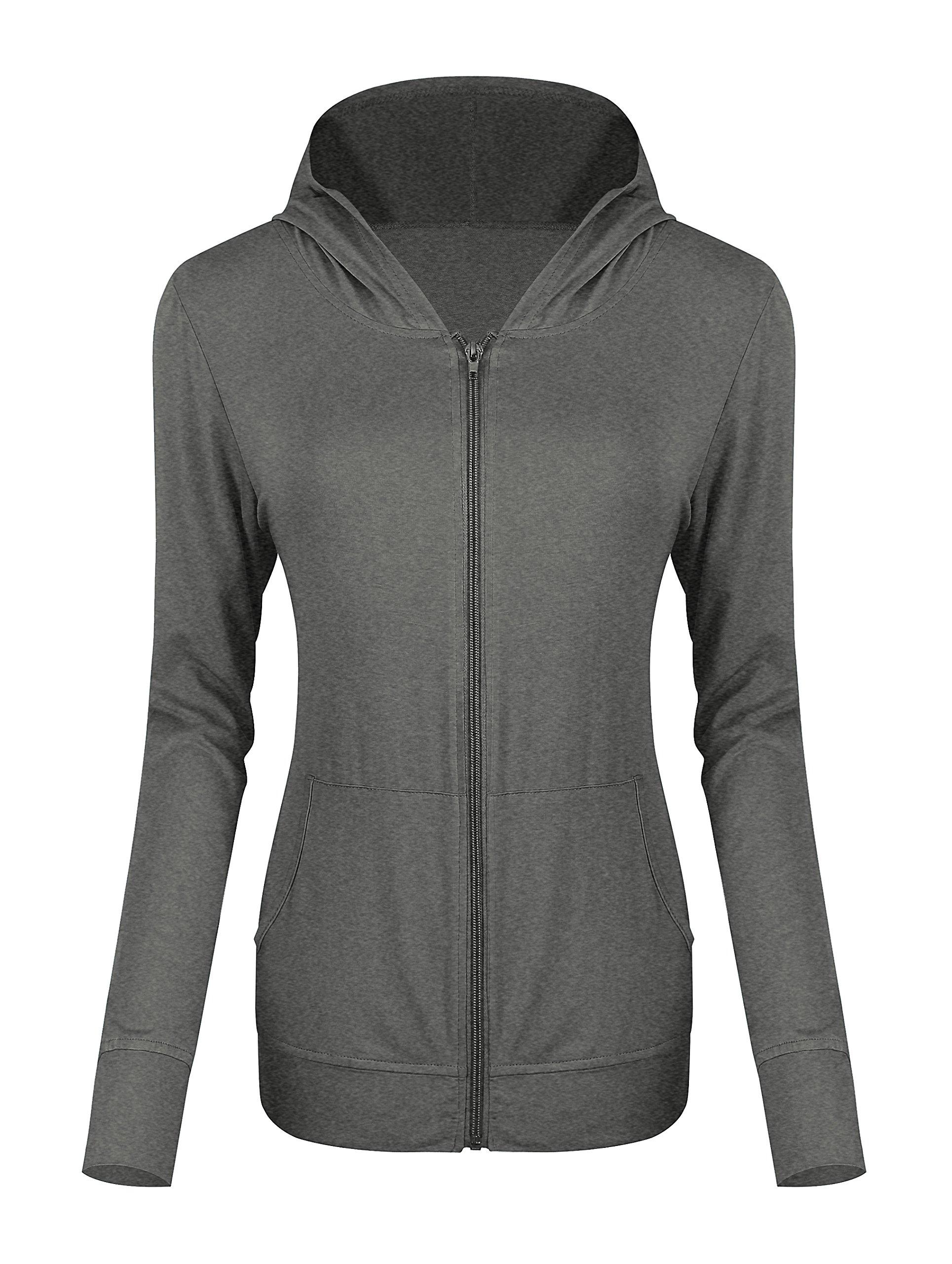 Women's Zip Hoodie Sweatshirt Lightweight Active Jacket (S, Heather Gray)