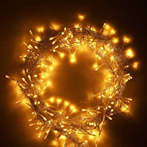 AMBOTHER Window Curtain Lights 9.8-by-19.68-feet 600 LED String Fairy Twinkle Lighting for Party Home Garden Bedroom Outdoor Indoor Wall Decorations, Warm White