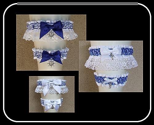 White Blue Gift Wedding White Blue Bridal Clothing Wedding Set White Royal Blue Garter Something Blue Gift For Wedding White Blue Garter