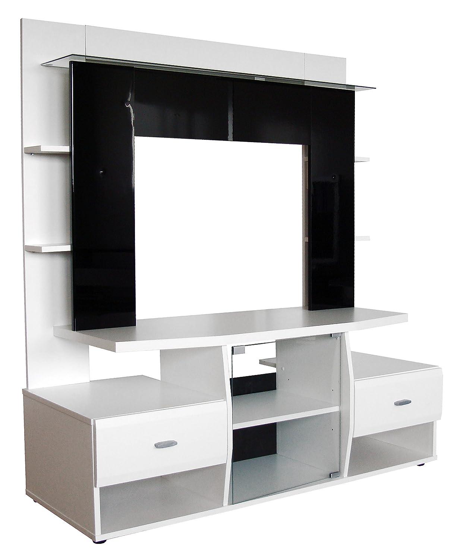 Berlioz Creations Ténéo Grand Meuble TV Panneaux de Particules Blanc et Noir 130 x 51 x 145 cm