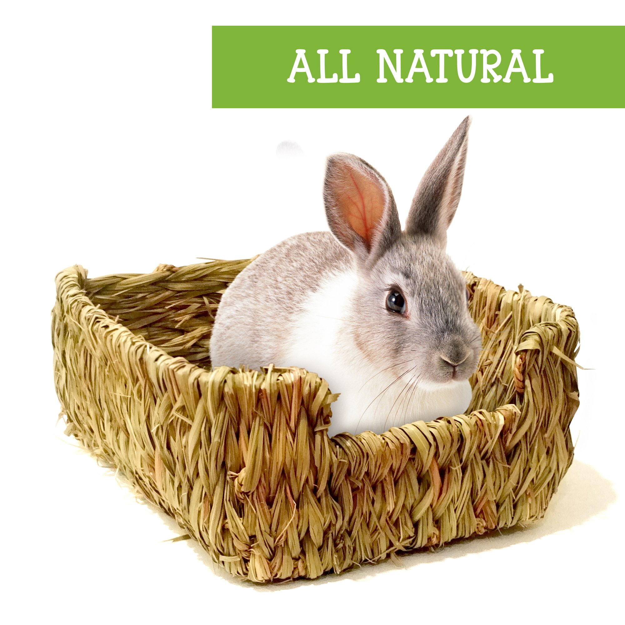Naturally PAWesome's Woven Grass Bed Furry Critter Lounge for Rabbits, Guinea Pigs, Chinchillas, Hamsters, Ferrets, and Other Fuzzy Pet Rodents