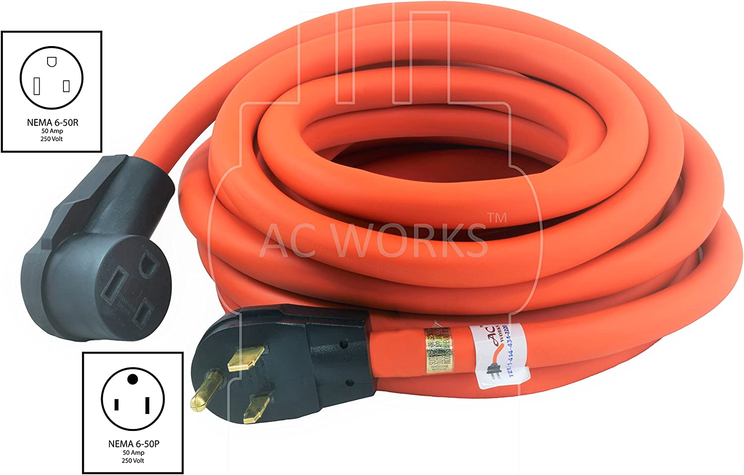 12AWG 6-50R to 6-50P 50A Power Extension Cord Welder Extension Adapter Cable