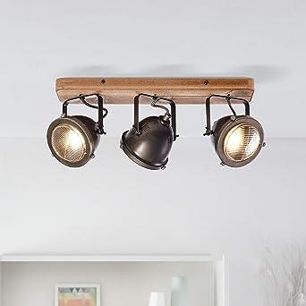 Lightbox - Lámpara de techo retro, regulable, 3 focos, lámpara de ...