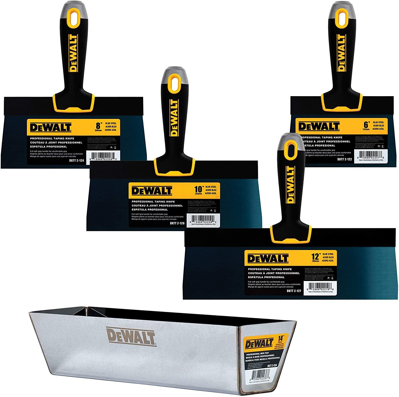 "DEWALT Blue Steel Taping Knife & Mud Pan Set + FREE BONUS 6"" Knife | 8/10/12-Inches | Soft Grip Handles | DXTT-3-164"