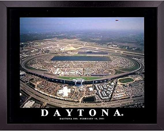 Daytona 500 NASCAR Speedway Stadium Poster Wall Art Decor Framed Print | 23 x 29 | Car Racing Aerial Race Track Posters & Pictures | Earnhardt Sports Fan Gifts for Guys & Girls College Bedroom...