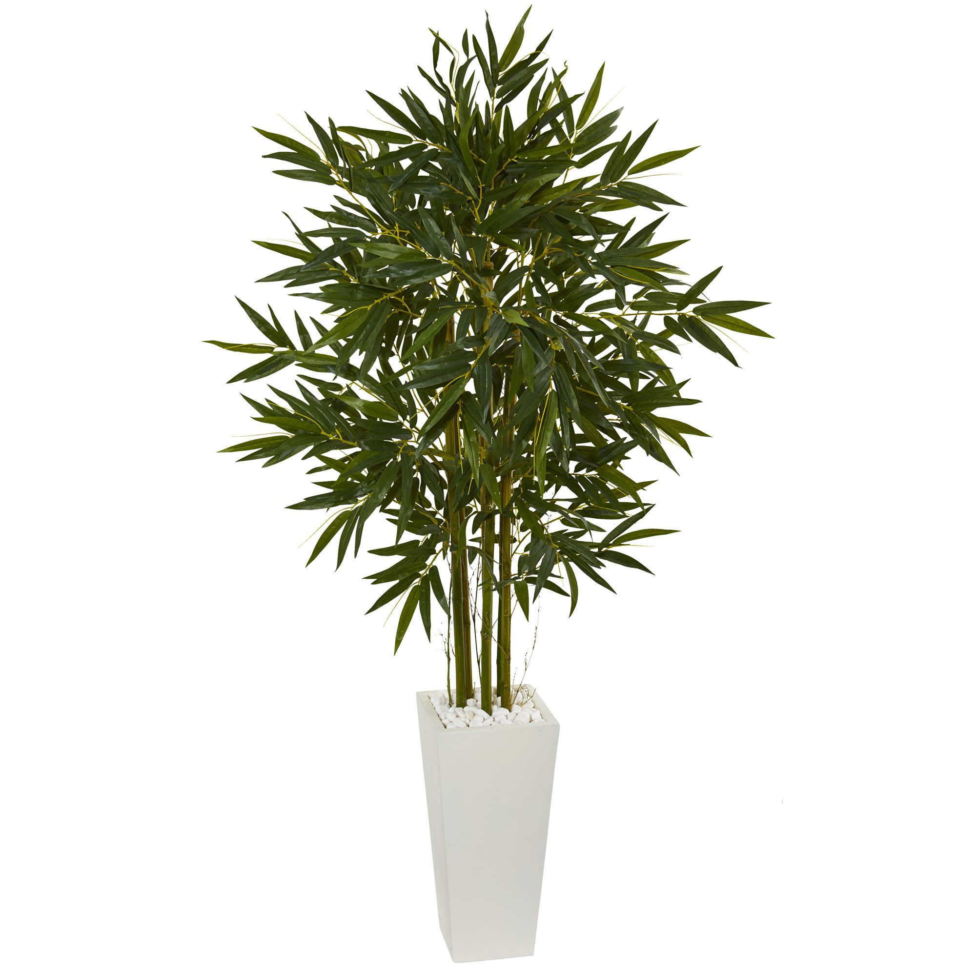Nearly Natural 6' Bamboo Artificial Tree in White Tower Planter 6, Green by Nearly Natural