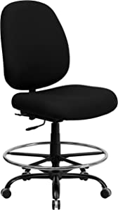 Flash Furniture HERCULES Series Big & Tall 400 lb. Rated Black Fabric Ergonomic Drafting Chair with Adjustable Back Height