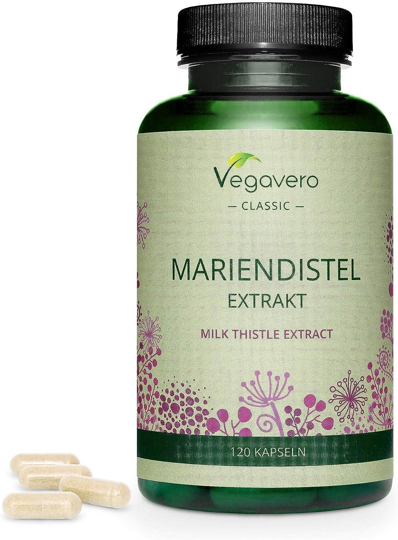 Cardo Mariano Vegavero® | 120 o 365 Cápsulas | La Dosis Más Alta: 840 mg | 80% de Silimarina | Sin Aditivos Artificiales | Detox + Hígado y Vesícula* | Testado en Laboratorio | Milk Thistle