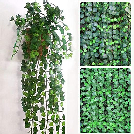 4 Realistic artificial green rounded heart leaf fabric garland plastic vine