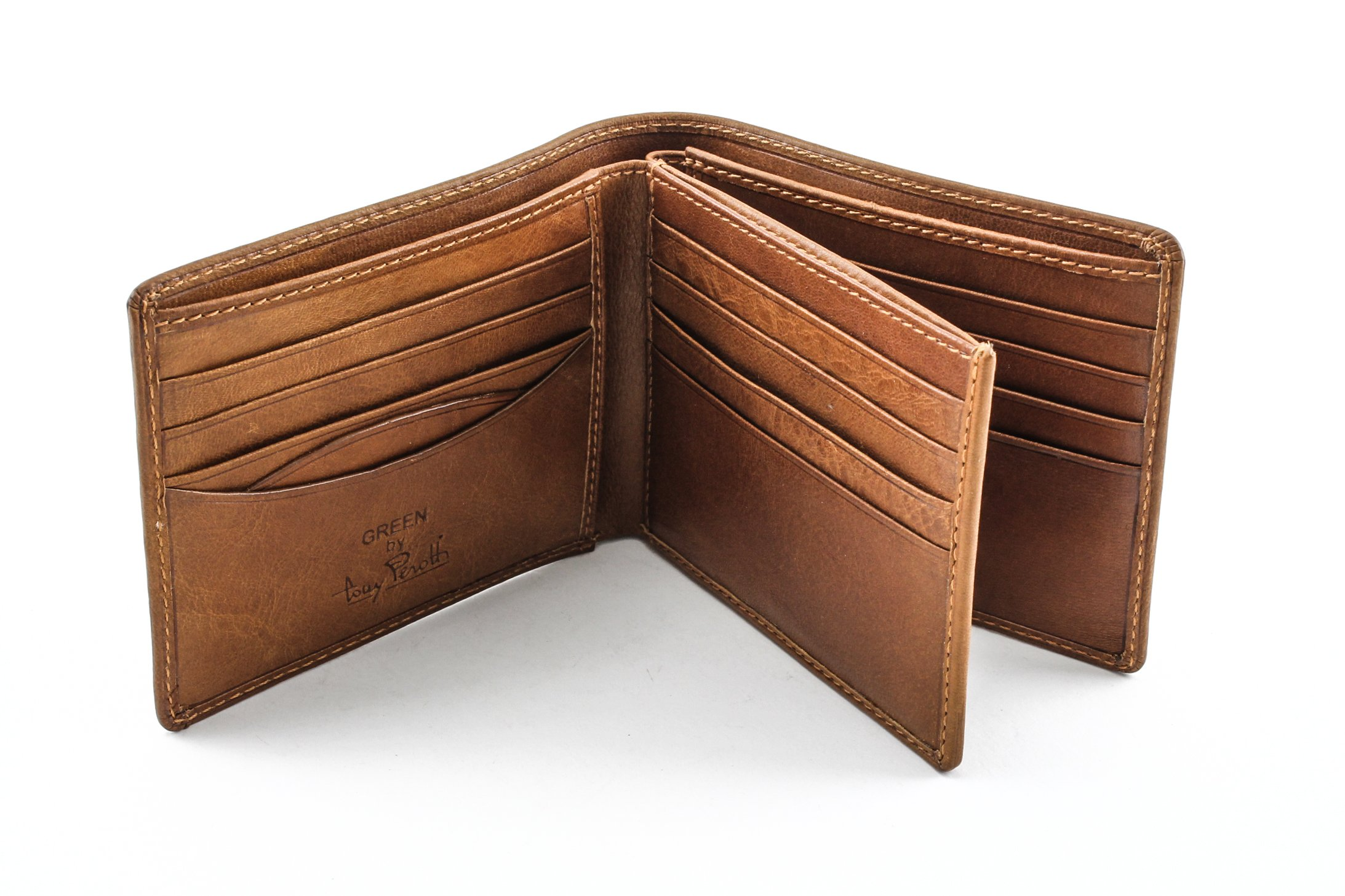 Italian Cow Leather Classic Bifold Multi Credit Card Wallet by Tony Perotti