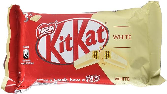 KitKat - Galleta recubierta de chocolate blanco (66%), paquete de 3 x