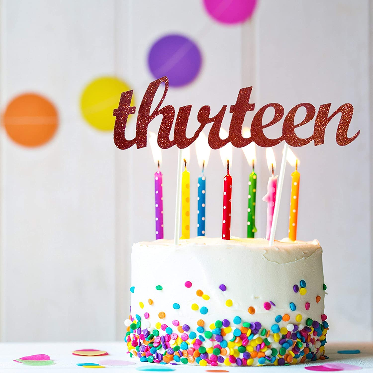 13th Birthday Cake Topper Thirteen Birthday Party Supplies Official Teenager Birthday Decorations Official Teenager Cake Topper for Son or Daughter Turning 13 Thirteen Black Script Cake Topper