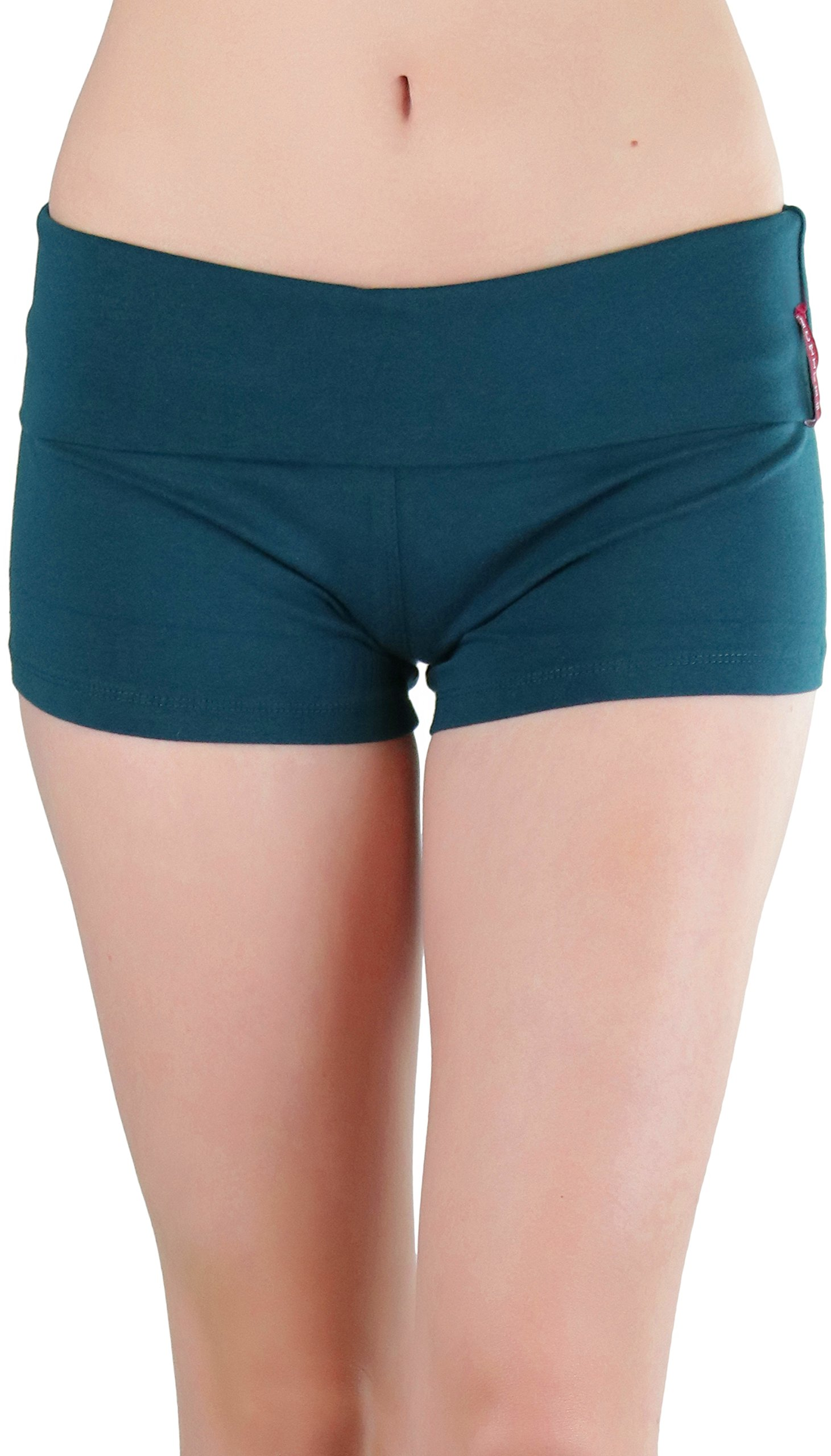 ToBeInStyle Women's Wide Waistband Rollover Yoga Shorts (Small, Green Teal)