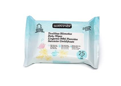 Suavinex - Pack 25 Toallitas húmedas para bebé. Hidratantes y extra suaves. con Camomila y Aloe Vera. formato viaje