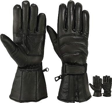 Winter Leather Gloves Motorcycle Motorbike Racing Thermal Yellow//Black