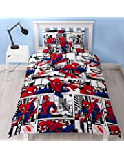 Spiderman Ultimate Metropolis Single Duvet Cover | Reversible Two Sided Design | Kids Bedding Set Includes Matching Pillow Case