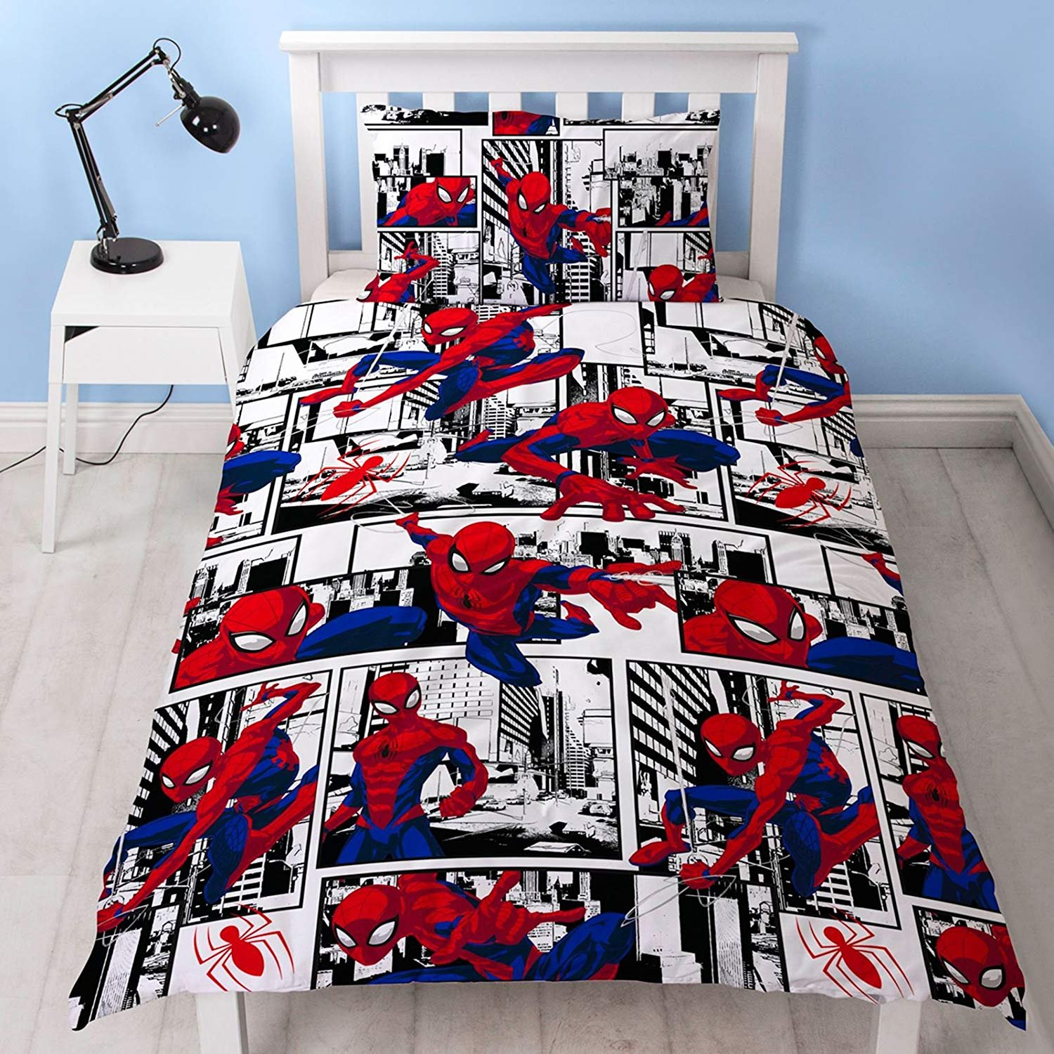Spiderman Metropolis UK Single/US Twin Unfilled Duvet Cover and Pillowcase Set Character World DUSMPSDS002UK1