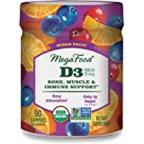 MegaFood, Certified Organic D3 Wellness Gummies, Soft Chew 1000 IU Vitamin D Supplement for Bone, Muscle and Immune…