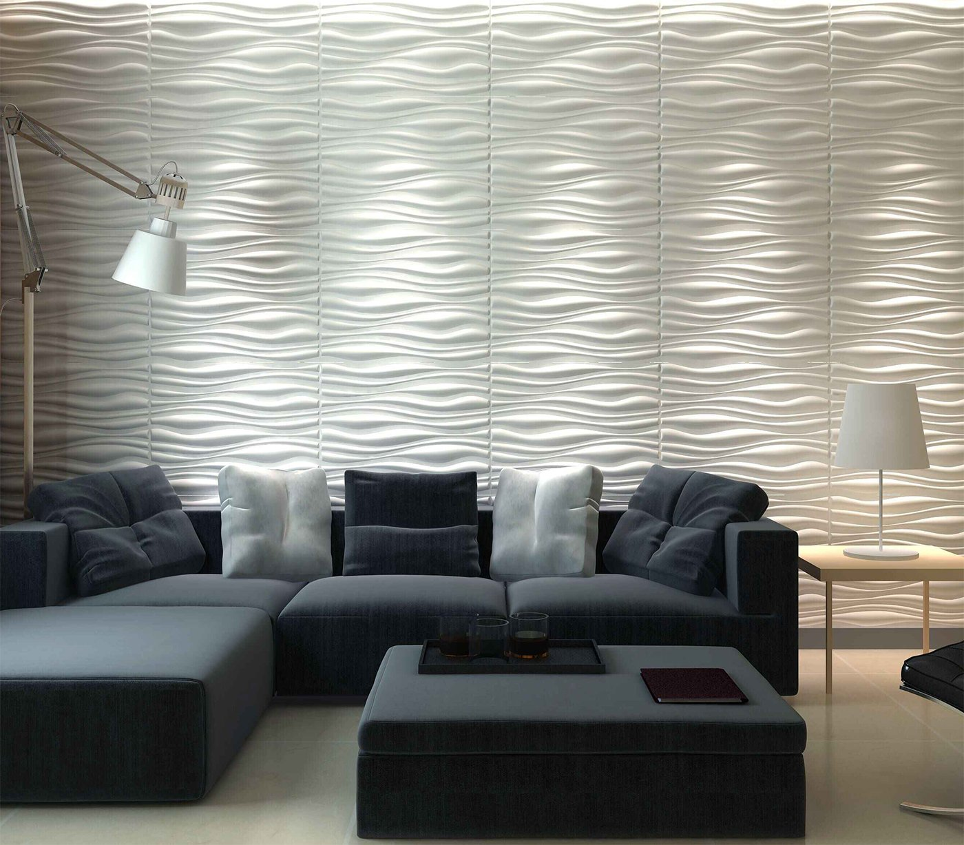 Amazon.com: Art3d Decorative 3D Wall Panels Wave Board Design for TV ...