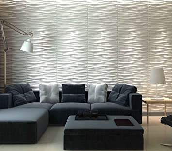 Art3d Decorative 3D Wall Panels Wave Board Design For TV Walls / Bedroom / Living  Room
