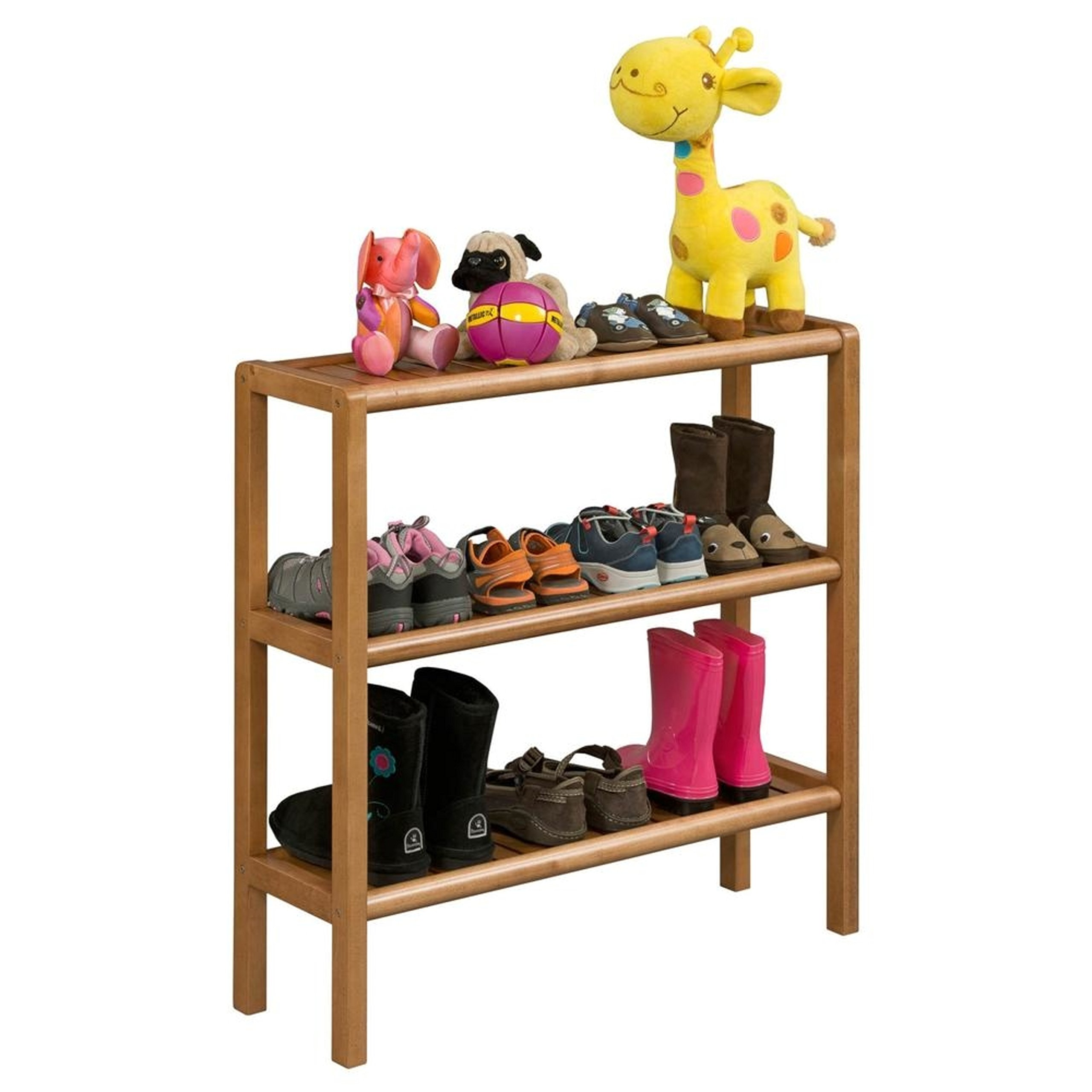 Solid Sturdy Birch Wood Console 3-Tier Shoe Rack, Cinnamon