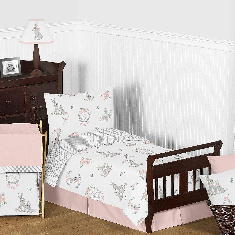 Sweet Jojo Designs Blush Pink Grey Woodland Boho Dream Catcher Arrow Gray Bunny Floral Girl Toddler Kid Childrens Comforter Bedding Set - 5 Pieces Comforter, Sham and Sheets - Watercolor Rose Flower