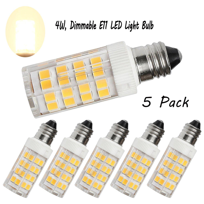 Armynetwork E11 LED Bulb, Mini Candelabra Base, AC120V 5W, 3000K Warm White E11 LED for Chandeliers Ceiling Fan Light, Dimmable, 5-Pack