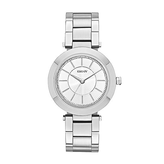 DKNY NY2285 - Reloj de Cuarzo con Correa de Acero Inoxidable para Mujer, Color Plateado