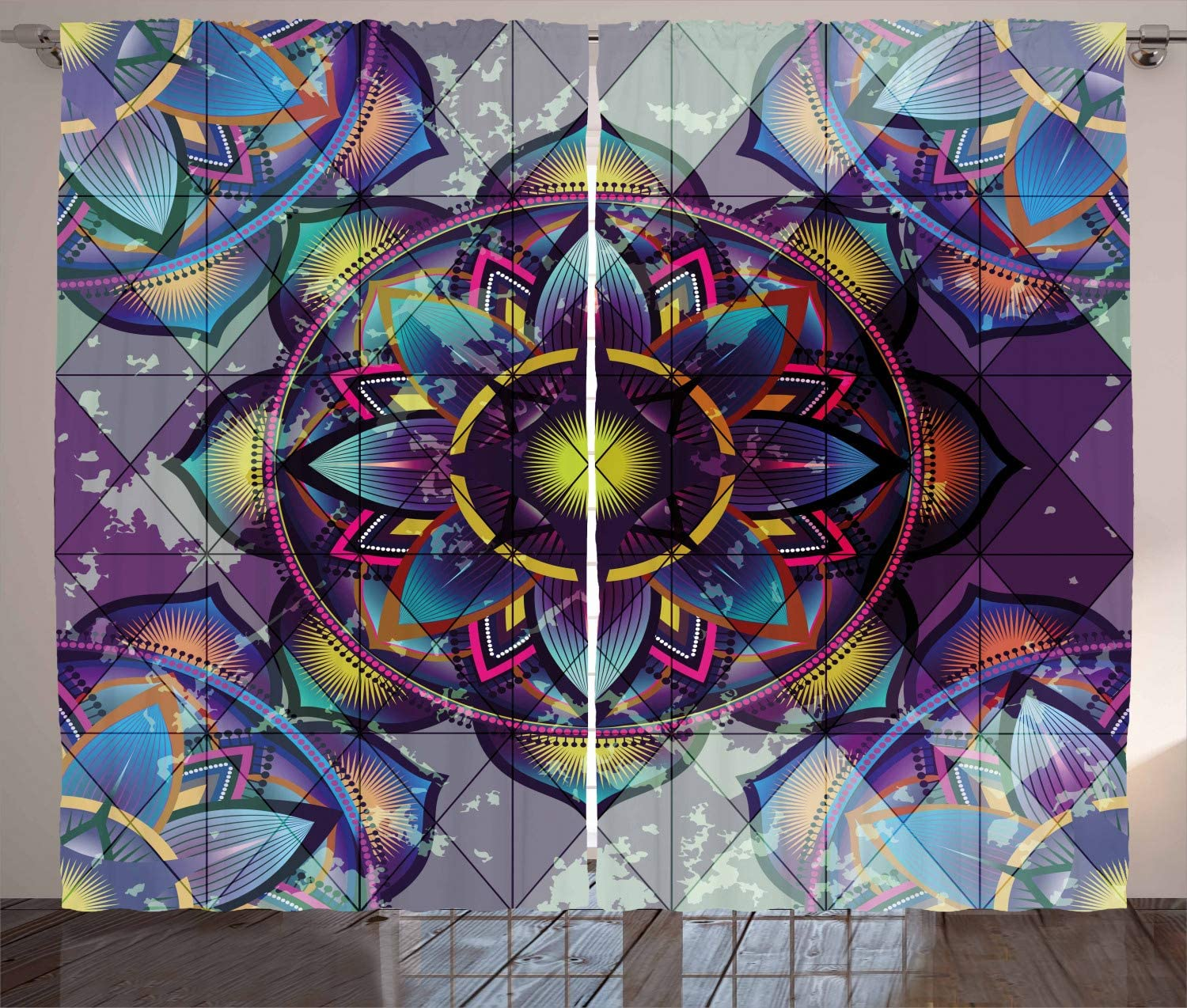 Ambesonne Lotus Curtains, Psychedelic Surreal Geometry Mandala Background with Futuristic Effects Print, Living Room Bedroom Window Drapes 2 Panel Set, 108