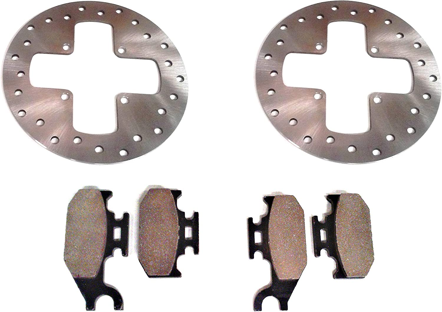 800 650 500 Max 705600349 705600350 Pair of Front Disc Brake Rotors with Pads for Can-Am 4x4 ATV 400 Fits Various Outlander 330 Replacement to OE # 705600603