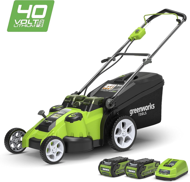 Greenworks Cortacésped inalámbrico con doble cuchilla de 49cm, 40V Li-Ion con 2 baterías de 2Ah y cargador - 2500207UC