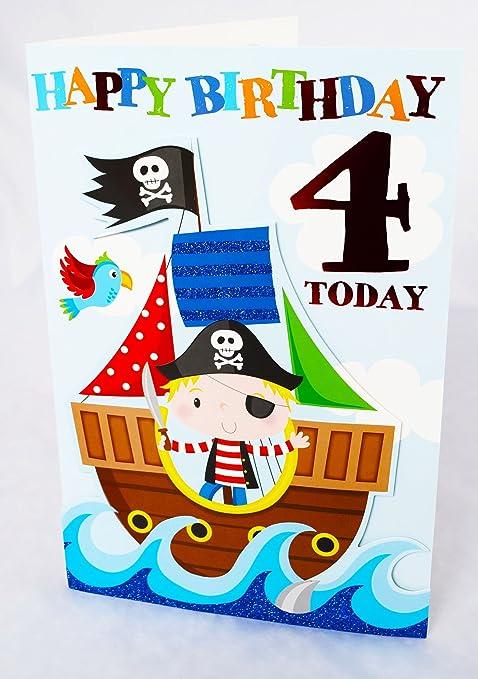 4 Today Biglietto Di Auguri Per Compleanno Per Bambino Età 4 Per