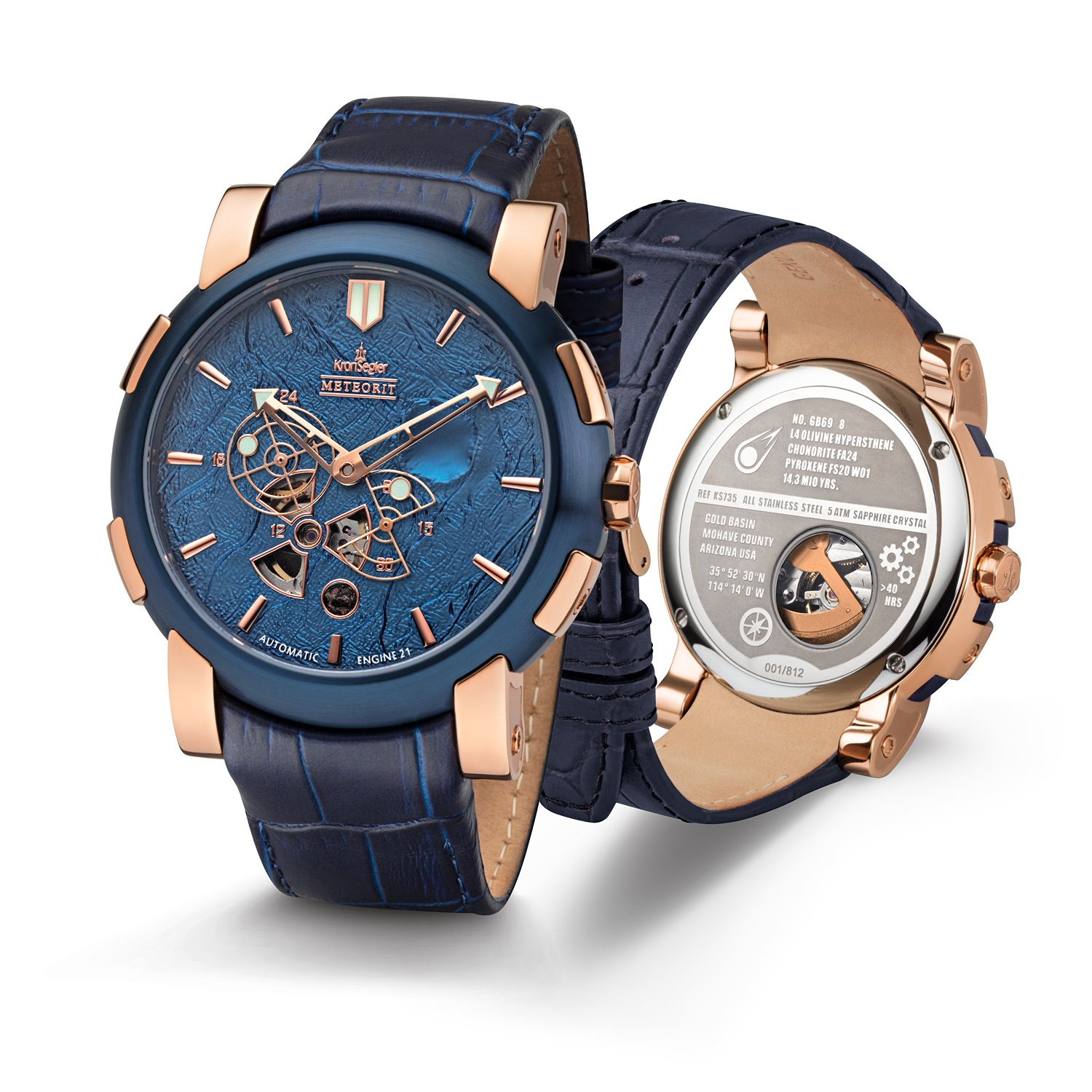 Amazon.com: Kronsegler Meteorit Automatic Watch Rosegold-Blue/Blue Limited with Meteorite Stones: Watches