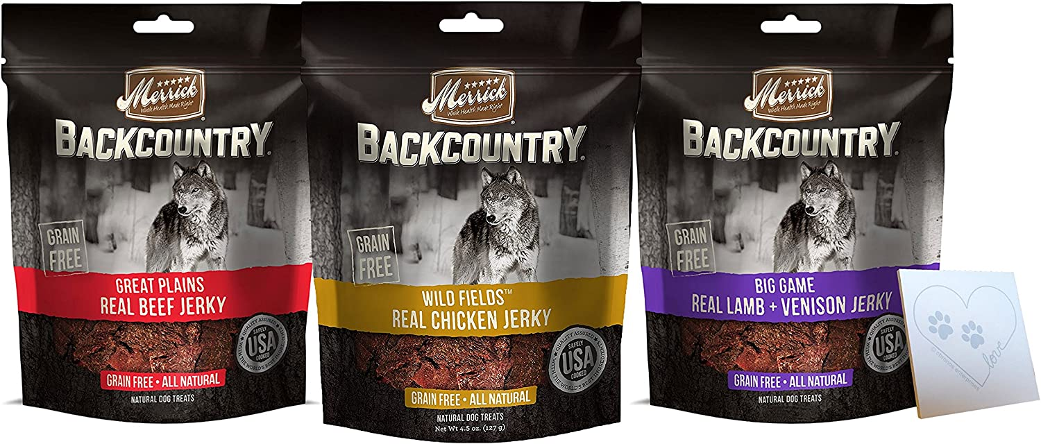 Merrick Backcountry Grain-Free Jerky Treats Variety Pack – Three Flavors Chicken, Beef, and Lamb Venison One Bag of Each Flavor, 13.5 Ounces Total