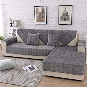OstepDecor Quilted Sofa Cover, Velvet Couch Cover, L-Shaped Sectional Couch Covers, Leather Sofa Slipcover for Dogs Cats Pet Love Seat Recliner - Dark Grey 36 x 63 Inches (90 x 160cm)
