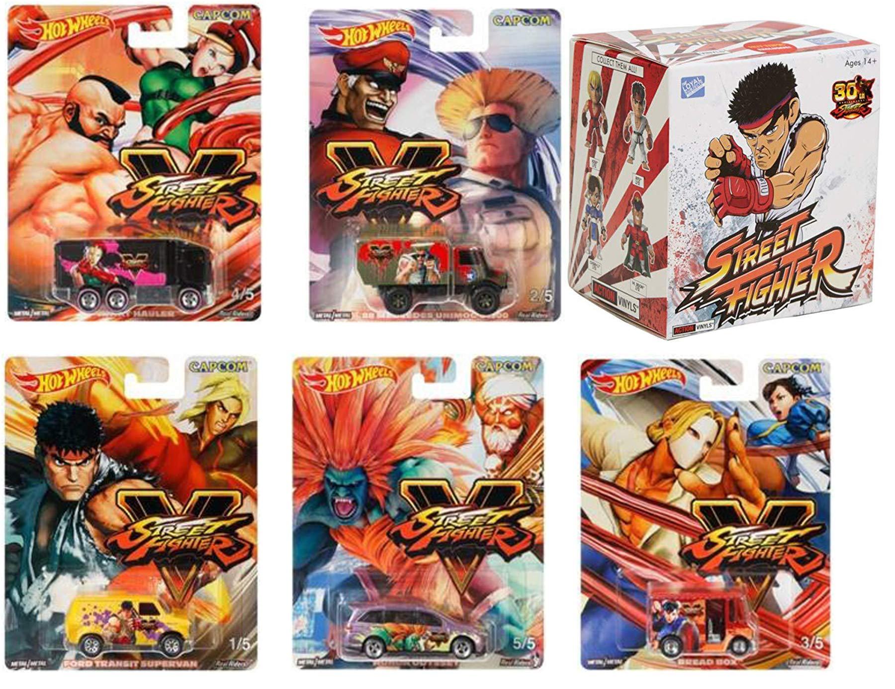 Real Action Hot Wheels Personaje del juego Street Fighter 2019 Pop Culture Series Street Fighter V Paquete de 5 Hot Wheels Bread Box Chun Li VS Vega Odyssey Blanka Ford Van Super + Vinyls Figura exclusiva