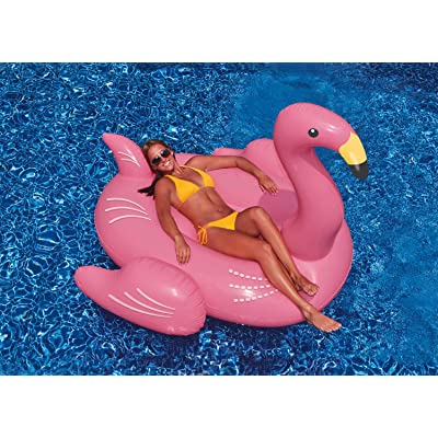 "78"" Inflatable Pink Giant Flamingo Swimming Pool Ride-On Float Toy: Toys & Games"