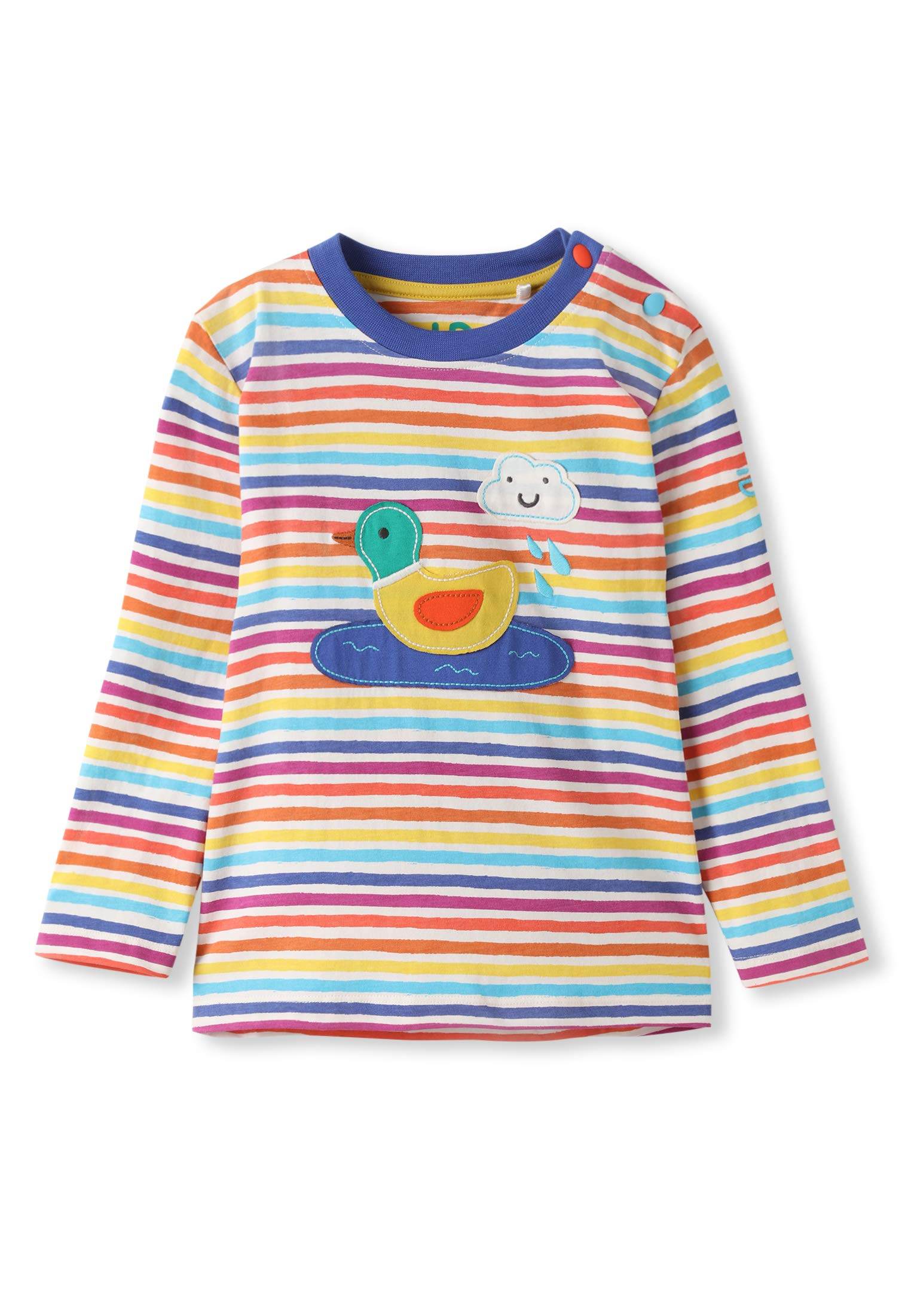 kIDio Organic Cotton Applique Baby Infant Toddler Long Sleeve Top - Duck Rainbow Stripes - Girl Boy Tee Shirt Blouse [24M (18-24 Months)] by kIDio