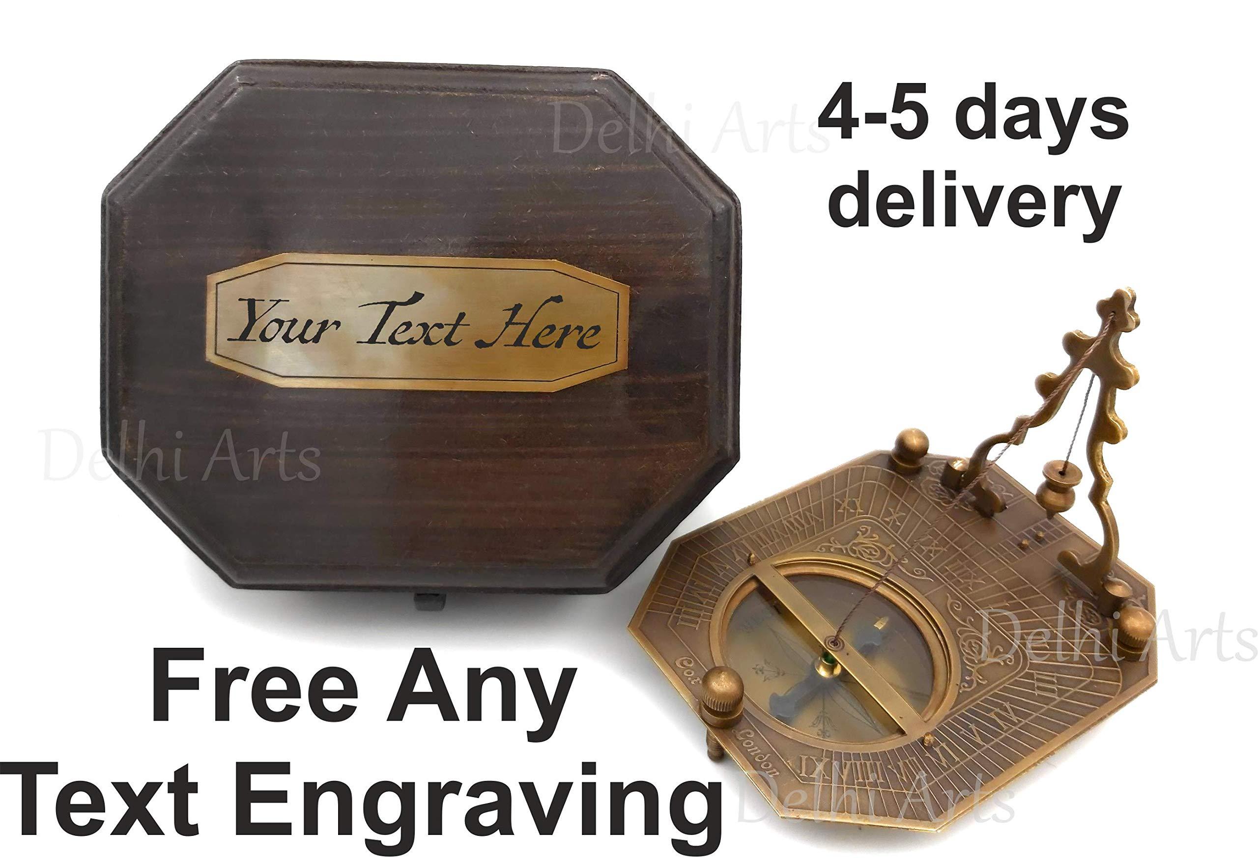 Delhi Arts Personalized Vintage Sundial, 2019, Sundial Compass with Special Engraved Greeting, Wedding Gift, Groomsmen Gift, Wedding Keepsake, Baptism, Graduation, Unusual Gift by Delhi Arts