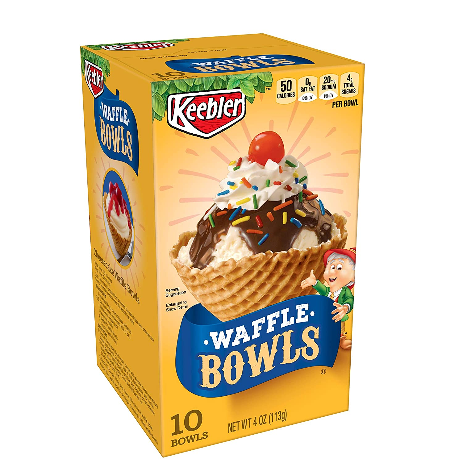 Keebler Cones, Ice Cream Waffle Bowls, 4 oz (10 Count)(Pack of 6)