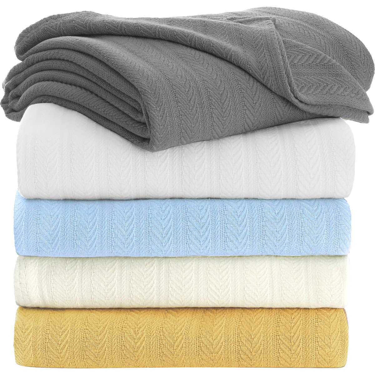 "TreeWool 100% Soft Premium Cotton Thermal Blanket in Stripe Weave - Easy Care Comfortable and Warm Season Bed Layering (Queen Size - 90"" x 90"", White)"