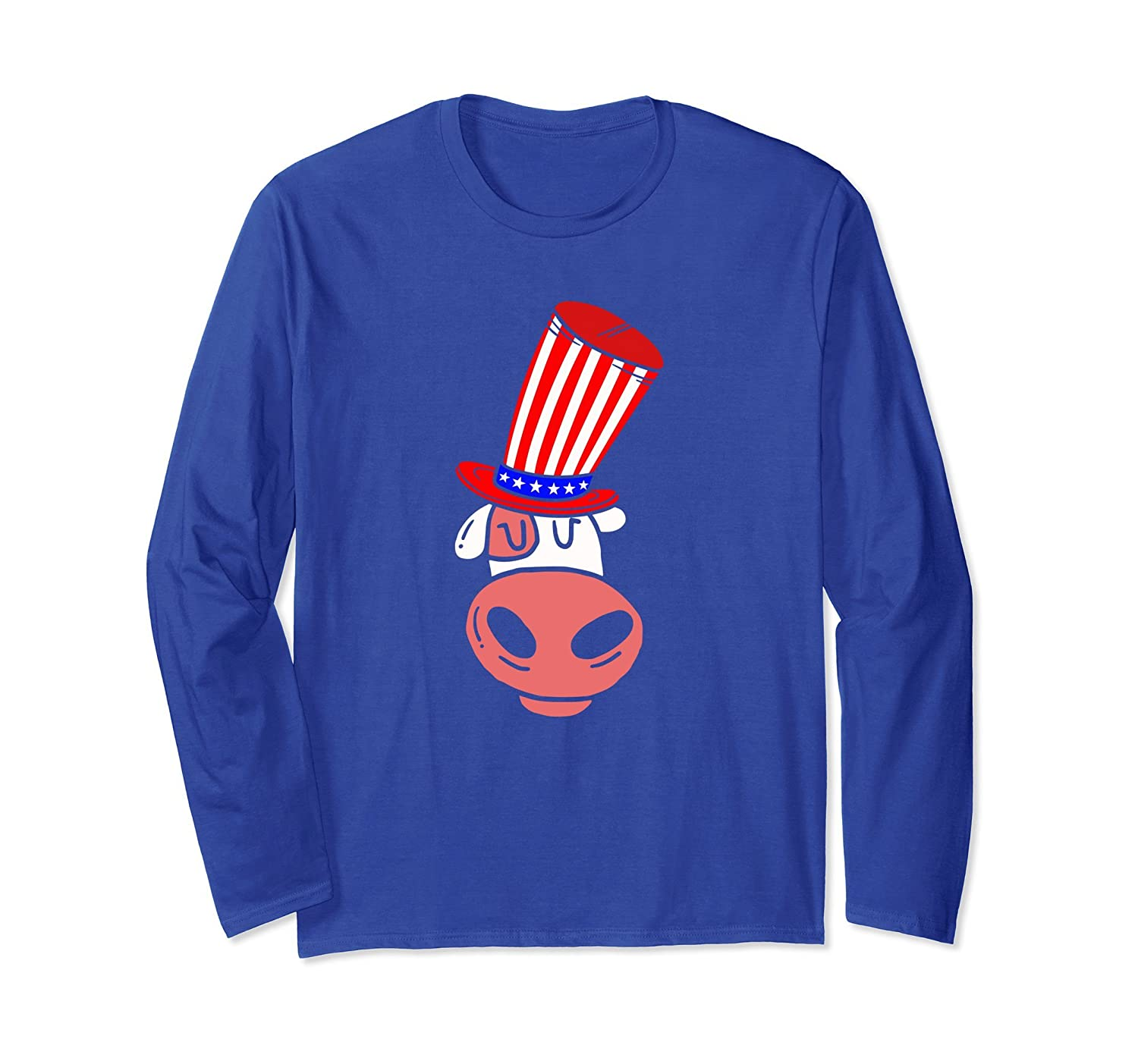 4th July American Flag Patriot Cow Long Sleeve-AZP