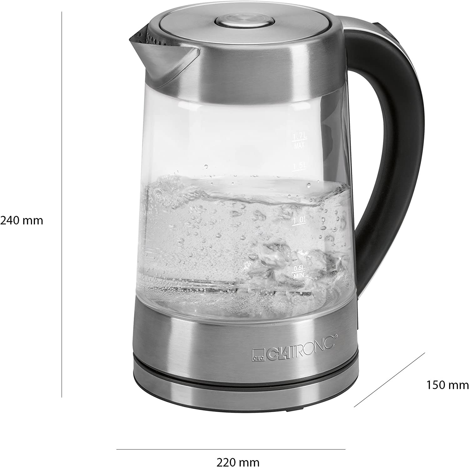 Clatronic WKG 3501 G Electric Glass Kettle 360 Degree Cordless
