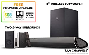 "Nakamichi Shockwafe Pro 7.1Ch DTS:X 600W 45-Inch Sound Bar with 8"" Subwoofer (Wireless) & 2-Way Rear Surround Speakers"