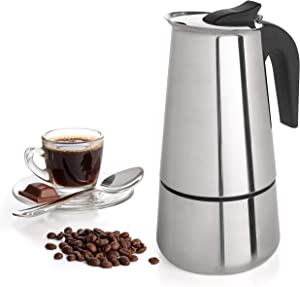 6 Cup Coffee Maker Stovetop Espresso Coffee Maker Moka Coffee Pot with Coffee Percolator Design Stainless Steel - by Mixpresso (10 Ounces)