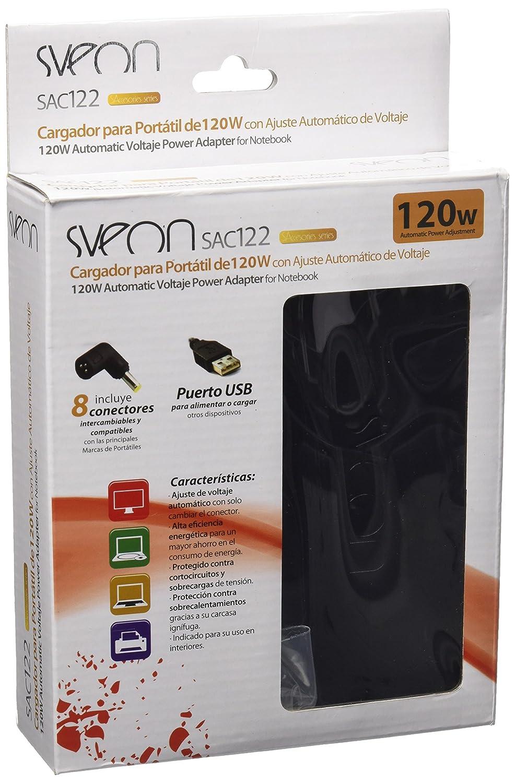 Sveon SAC122 - Cargador Universal de portátil de 120w con Ajuste automático de Voltaje, Color Negro: Amazon.es: Informática