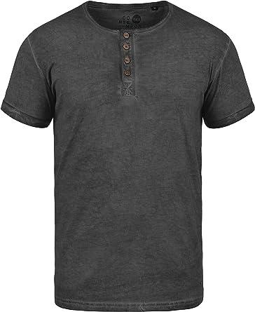 Solid Tihn Camiseta Básica De Manga Corta T-Shirt para Hombre con Cuello Grandad De 100% algodón: Amazon.es: Ropa y accesorios
